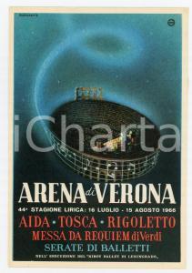 1966 ARENA DI VERONA - 44° Stagione Lirica - Cartolina ILLUSTRATA FG NV