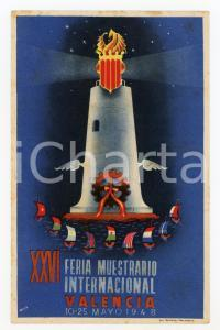 1948 VALENCIA XXVI Feria Muestrario Internacional - Faro - Tarjeta postal