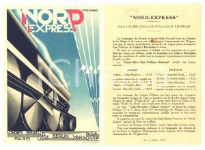 1930 ca CHEMIN DE FER DU NORD Calais-Bruxelles express - Carte ill. CASSANDRE