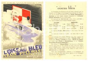 1929 CHEMIN DE FER DU NORD Train Oiseau bleu - Carte illustrateur CASSANDRE