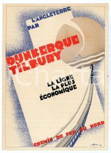 1929 CHEMIN DE FER DU NORD Ligne DUNKERQUE-TILBURY - Carte publicitaire STOWE