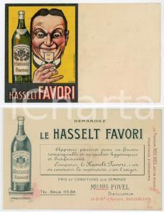 1910 ca HASSELT FAVORI Distillateur Michel FOVEL Cartoncino pubblicitario 14x9