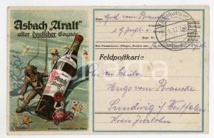 1917 ASBACH ARALT Alter deutscher cognac - Carte postale ILLUSTRÉE FP VG