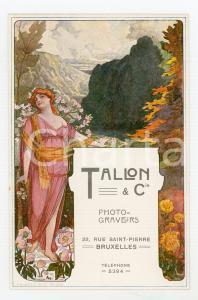 1910 ca ART DECO  BRUXELLES Photo-graveurs TALLON - Carte publicitaire MAGLIN