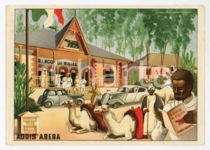 1938 ADDIS ABEBA (ETIOPIA) Filiale del Banco di Roma - Cartolina ILLUSTRATA FG