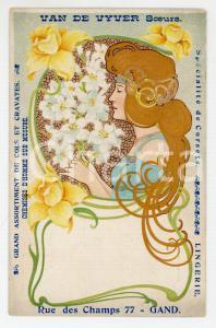 1900 ca ART NOUVEAU GAND (BELGIQUE) VAN DE VYVER Soeurs lingerie - Carte postale