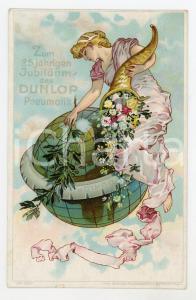 1910 ca DUNLOP Pneumatik - Zum 25 jahrigen Jubilaeum - Postcard advertising