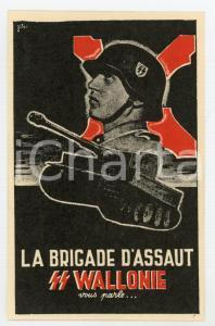 1940 ca WW2 Brigade d'Assaut SS WALLONIE - Waffen SS - RARE original postcard