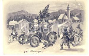 1904 CHRISTMAS Santa Claus driver in car - Embossed vintage postcard b/w
