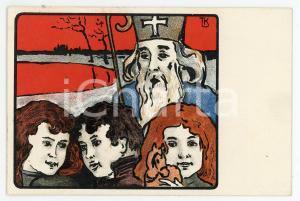 1900 ca CHRISTMAS Santa Claus with children - SANKT NIKOLAUS - Postcard FP NV