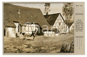 1920 ca Ferdinand VON ZEPPELIN entkommt durch die rückseite des hauses Postcard