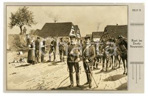 1910 ca REICHSEINIGUNGSKRIEGE Rast im Dorfe Neuweier - Postcard AK