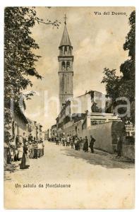 1920 ca MONFALCONE (GO) Via del Duomo - Cartolina vintage FP VG animatissima