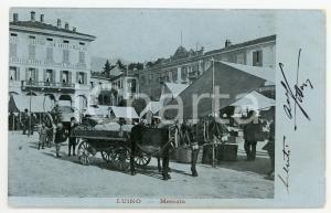 1905 LUINO (VA) Mercato - Albergo Ristorante ANCORA - Cartolina ANIMATA calesse