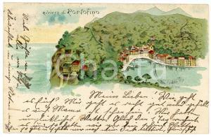 1899 LIGURIA Riviera di PORTOFINO - Veduta sul promontorio - Cartolina vintage