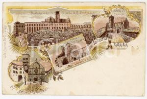 1900 ASSISI Vedutine - Basilica di S Francesco - Chiesa di S. Chiara *Cartolina