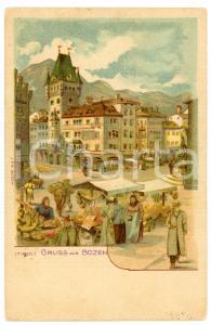 1900 ca BOLZANO / BOZEN (TIROL) Piazza con mercato - Cartolina illustrata FP NV