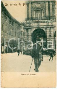 1905 ca PISA Veduta sulla piazza di Banchi - Cartolina postale ANIMATA