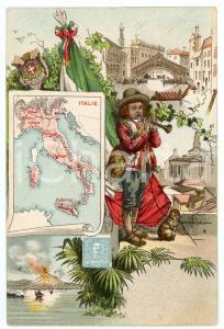 1910 ca UNITA' D'ITALIA Bambino suonatore e Tricolore - Cartolina PATRIOTTICA