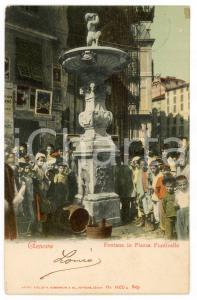 1908 GENOVA Fontana in Piazza Ponticello - Cartolina postale ANIMATA bambini