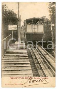 1905 ca Funicolare COMO-BRUNATE - Fermata Carescione - Cartolina postale ANIMATA