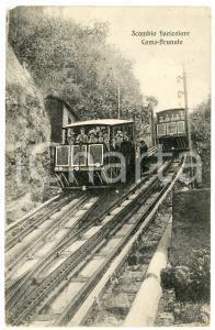 1911 Funicolare COMO-BRUNATE - Scambio - Cartolina postale ANIMATA FP VG