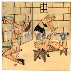 1955 ca LESBIAN BDSM Mistress and slaves (1) - Drawing Raymond VAN DOREN