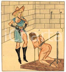 1955 ca LESBIAN BDSM Cowgirl mistress and slave - Drawing Raymond VAN DOREN
