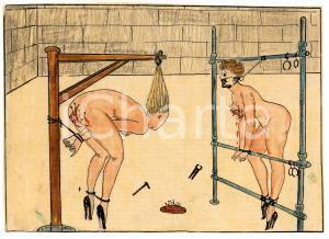 1955 ca LESBIAN BDSM Tortured slaves (1) - Drawing by Raymond VAN DOREN