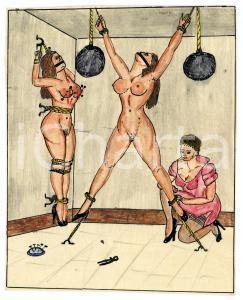 1955 Lesbian BDSM Mistress torturing two slaves - Drawing Raymond VAN DOREN