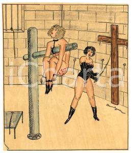 1955 Lesbian BDSM Mistress torturing a slave - Drawing Raymond VAN DOREN 12x14