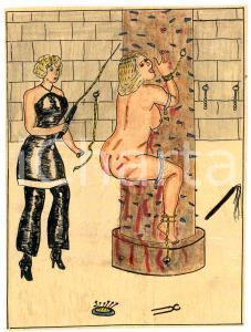 1955 Lesbian BDSM Mistress torturing a slave - Drawing Raymond VAN DOREN 11x15