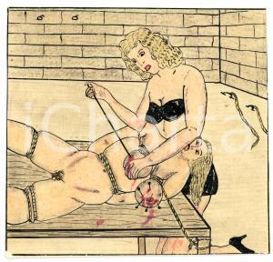 1955 ca Lesbian BDSM Mistress and slave (2) - Drawing by Raymond VAN DOREN