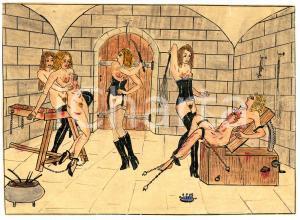 1955 ca LESBIAN BDSM Mistresses and tortured slaves - Drawing Raymond VAN DOREN