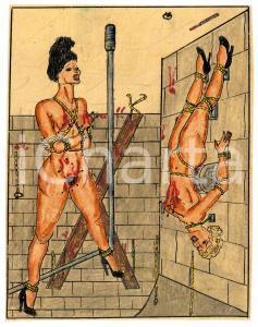 1955 ca LESBIAN BDSM Tortured slaves (3) - Drawing by Raymond VAN DOREN