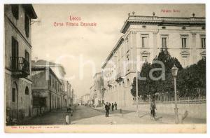 1900 ca LECCO Corso Vittorio Emanuele - Palazzo Nava - Cartolina ANIMATA FP NV