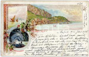 1896 CAPRI Grotta Azzurra e vedutine dell'isola - Cartolina ILLUSTRATA FP VG