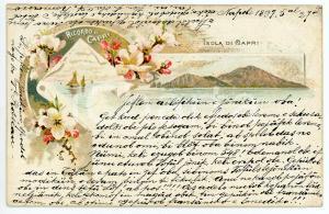 1891 CAPRI Vedutine dell'isola - Cartolina ILLUSTRATA FP VG