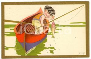 1932 CHILDREN Illustration by EMMEPÌ Child fishing - Postcard FP VG