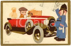 1930 CHILDREN Illustration by EMMEPÌ Policeman stops child on a car - Postcard