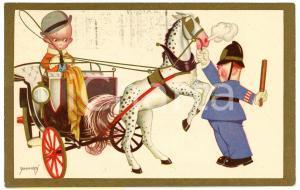 1931 CHILDREN Illustration by EMMEPÌ Policeman stops child on a gig - Postcard