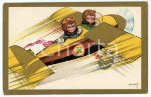 1937 CHILDREN Illustration by EMMEPÌ Children aviators - Postcard FP VG