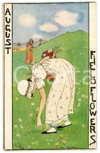 1925 AUGUST Field Flowers - Illustration by Rie CRAMER Postcard FP VG