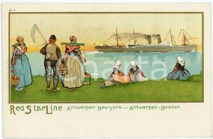 1920ca RED STAR LINE Antwerpen NEW YORK Boston - Ill. Henri CASSIERS Postcard