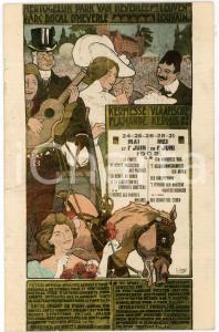 1908 LOUVAIN - Parc Ducal d'Heverle KERMESSE FLAMANDE Carte postale DAMAGED
