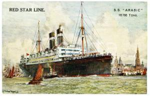 1910 ca RED STAR LINE - S.S. ARABIC Illustrated postcard FP NV