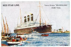 1910 ca RED STAR LINE Triple-screw BELGENLAND - Illustrated postcard FP NV (1)