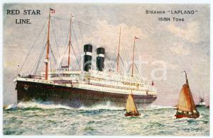 1910 ca RED STAR LINE Steamer LAPLAND - Illustrated postcard FP NV