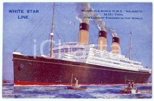1915 ca WHITE STAR LINE R.M.S. Majestic - The largest steamer - Postcard