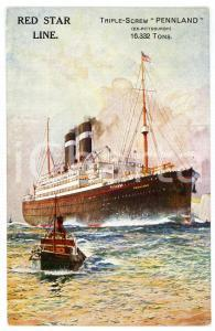 1915 ca RED STAR LINE Triple-screw PENNLAND (ex-Pittsburgh)- Postcard
